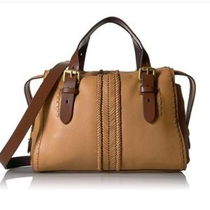Cole Haan Loralie Whipstitch Satchel Bag in Camel